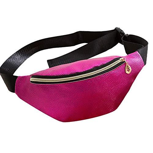 Dorical Shell-Typ Brusttasche für Frauen Casual Sport Geldbörse Canvas Breast Package Messenger Bag, Bauchtasche Gürteltasche Handytasche Wandern, Sport Reisen Wandern Joggen(Pink)