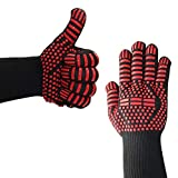 BBQ Gloves for Cooking, Grilling, Baking - Extra Long Cuff(Black) -Oven Gloves 932°F