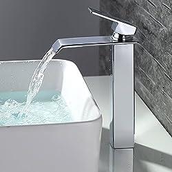 Homelody Robinet Mitigeur Cascade Lavabo Mono Trou sur Plage Carré Chromé Robinetterie Cascade pour Lavabo Salle de bains Hauteur Sous Bec 200mm