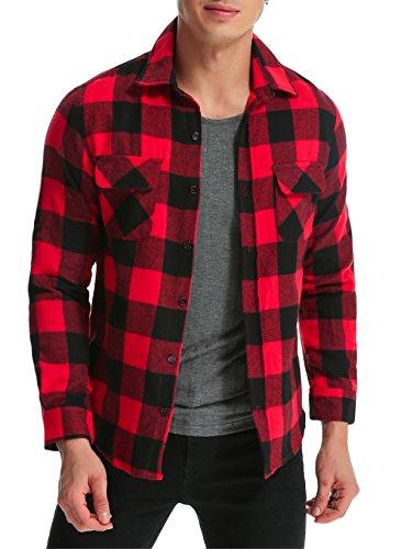MODCHOK Herren Karierte Karo-Hemd Freizeithemd Langarm Shirt Bluse Oberteile Slim Fit Rotschwarz XL (Karo Hemd Langarm Flanell)
