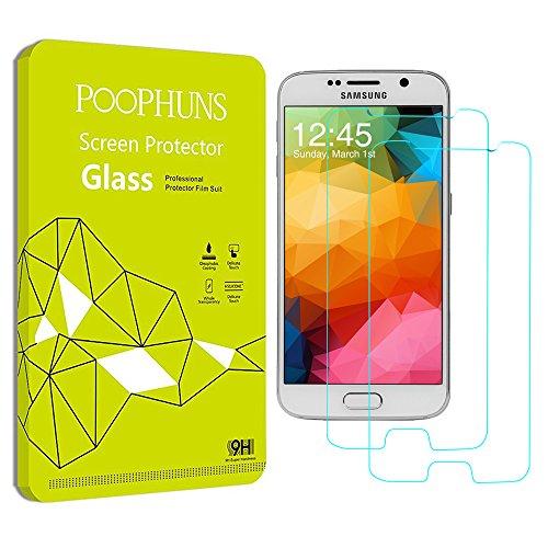 2-Unidades Protector de Pantalla de Cristal Templado Samsung Galaxy S6, POOPHUNS Protector...