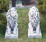 2 Löwen Set (S103060+S103061) Torwächter Gartenfiguren Statuen Steinguss 34 cm