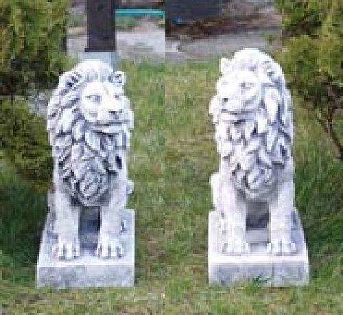 2 Löwen Set (S103060+S103061) Torwächter Gartenfiguren Statuen Steinguss 34 cm - Outdoor-löwen-statuen