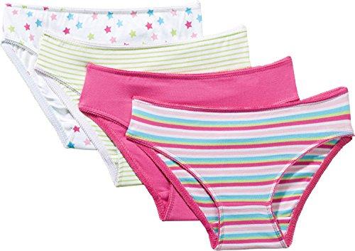 Kinderbutt Slip 4er-Pack mit Druckmotiv Single-Jersey pink-Mint-bunt Größe 134/140