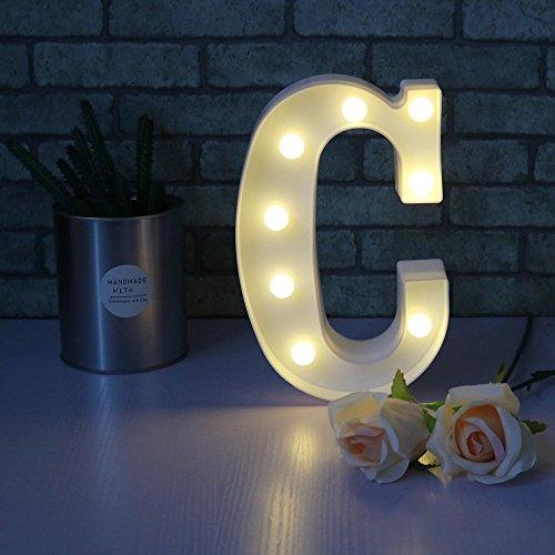 Missley Lettres solides blanches d'alphabet de la lettre LED de Missley LED solides pour la décoration de mariage de partie (C)