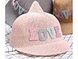 Dekoration Kinder wies Kappe Kinder Breathable Stroh Baseball Cap Sonnenschutz Hut für Out-going für Zuhause (Farbe : Pink, Größe : 48-52cm)