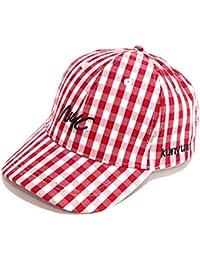 GYZ Sombrero de sol para niños: primavera y otoño para niños, hebilla ajustable, patrón de cuadros, gorra de béisbol…