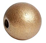 SiAura Material ® - 50 Stück Holzperlen 15mm mit 3,6mm Loch, Rund, Goldfarben zum Basteln