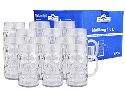 12er Set Maßkrug 'Wellco' - 1 Liter Bierkrug aus Glas - geeicht