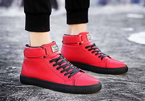 Uomini High Top Sneakers Light Flat Shoes Scarpe Autunno Inverno Nuova Moda Trend Foderato In Pelliccia Scarpe Da Skateboard Rosso