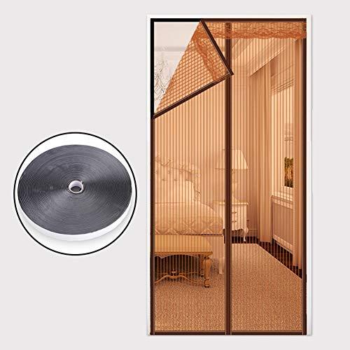 Jffffwi silk road velcro anti-zanzara schermo magnetico porta, persiane magnetico criptata zanzariera anti-zanzara estate home camera da letto doppia porta schermo-beigeb 120x220cm(47x87pollici)