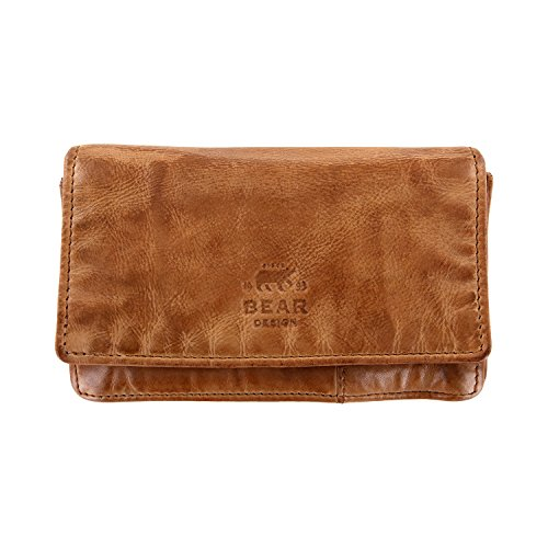 Bear Design Damen Geldbörse, Portemonnaie CL782 gewaschenes Leder Vintage Look (15/9/3 cm)