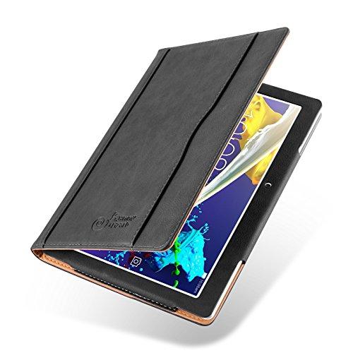 Lenovo Tab 2 A10-30 / A10-70 und Tab 3 10 Plus Hülle | JAMMYLIZARD Ledertasche Flip Case [Business Tasche] Leder Smart Cover Lederhülle, Schwarz & Honig