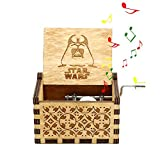 Boîte à Musique Star Wars?MOGOI Antique manivelle main sculptée en bois boîtes à musique plus beau cadeau pour Noël anniversaire