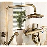 """Gowe latón antiguo montado en la pared 8""""Round cabezal de ducha de lluvia grifo grifo de caño de bañera termostático Válvula"""