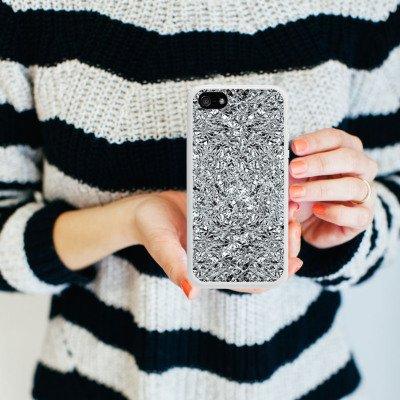 Apple iPhone 5 Housse Étui Silicone Coque Protection Paillettes Argent Brillance Housse en silicone blanc