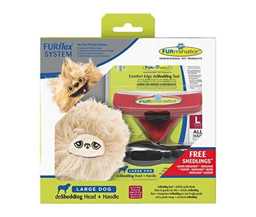 FURminator 142522 FURflex Fellpflege Geschenkbox für Hunde, deShedding-Tool mit Shedling-Spielzeug, größe L, rot