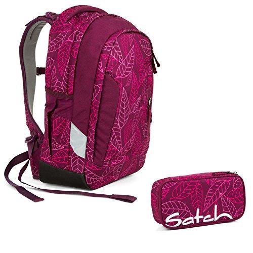 Satch Sleek - 2tlg. Set Schulrucksack - Purple Leaves