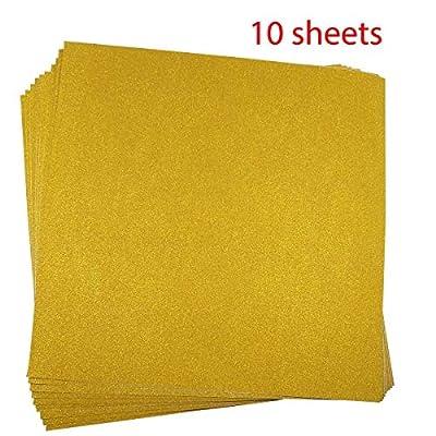 10 Blatt Klebefolie Glitzer Selbstklebende Dekofolie Farbige Bastelfolie Glitter Vinyl Aufkleber für DIY Handwerk Scrapbooking 30x30cm