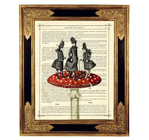 Mädchen Fliegenpilz Druck Kunstdruck auf antiker Buchseite Geschenk für Kinder Steampunk Bild Poster ungerahmt
