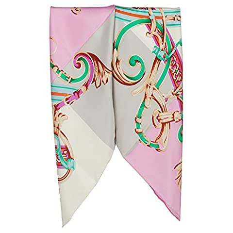 IRRANI Women's Graphic Print 100% Silk Large Square Scarf Wrap Neckerchief 34x34 Inches