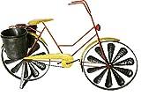 colourliving Windspiel Fahrrad Citybike Metallwindrad Damen Fahrrad Gelb 2 Windräder kugelgelagert mit 2 Pflanztöpfe