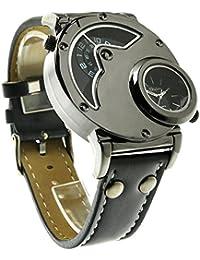 Aposon Mens Dual Time Quartz Analog Wrist Watch With Unique Dual Dial Design,Steel Case,Comfortable Leather Band...