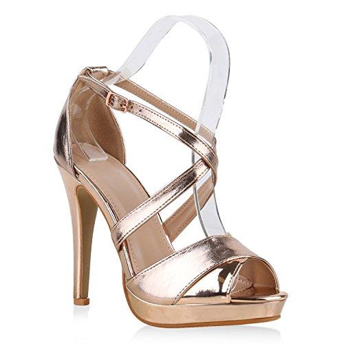 Damen Sandaletten High Heels Strass Plateau Stilettos Party Schuhe Sommer Abiball Hochzeit Brautschuhe Rose Gold Glanz