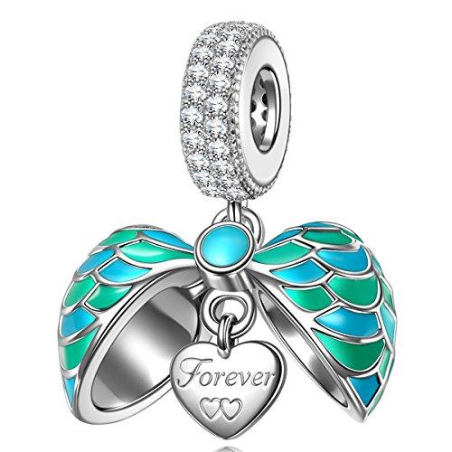 Ninaqueen ali di angelo ciondolo da donna argento sterling 925 per pandora charms bracciale regalo compleanno natale san valentino festa della mamma regali anniversario per moglie madre sposa