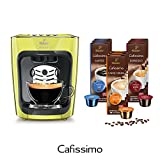 Tchibo Cafissimo mini Kapselmaschine Flashy Lime (Kaffeemaschine gelb, inkl. 90 Kapseln)