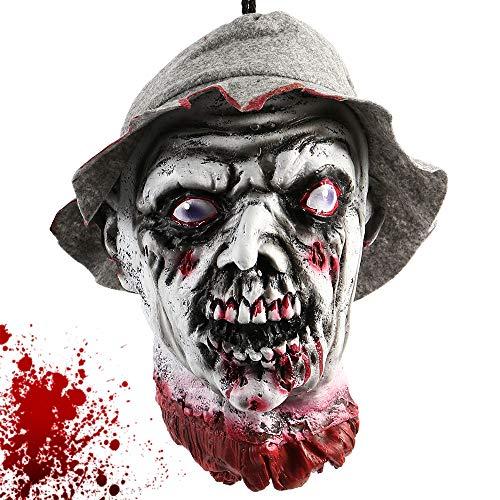 Iraza Halloween Cabeza del Zombie para Suministros Frecuentada del Partido Casas Decoración Divertido Festivos Miedo (18106)