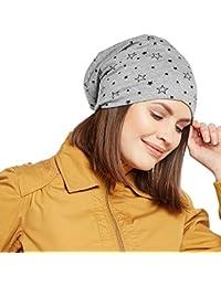 Vimal Jonney Grey Melange Star Printed Cotton Beanie Cap For Women-CAP_PRINTNO.1_MLG_001