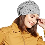 #5: Vimal Grey Melange Star Printed Cotton Beanie Cap For Women