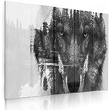 Feeby Frames, Quadro multipannello di 5 pannelli, Quadro su tela, Stampa artistica, Canvas (LUPO BIANCO E NERO) 100x150 cm, Tipo C