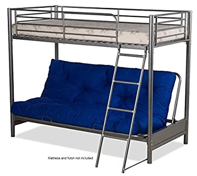 Futon Bunk Bed (frame Only) In Silver Metal Finish - cheap UK Bunkbed shop.
