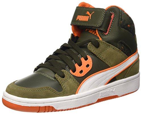 Puma Jungen Rebound Street Wcamo Jr Hohe Sneaker Verde (Burnt Olive/Forest Night/Bianco/Arancione)