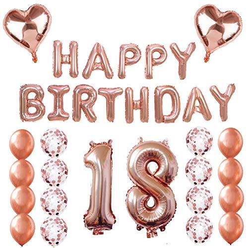 Gute zum Geburtstag Ballons Banner Rose Gold Ballons Dekorationen Set Folie und Latex Buchstaben Ballons Mylar Ballons Geburtstag Party Dekoration ()