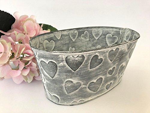 Mittelstücke Tabelle Blumen (Ovale Metall Pflanzer Topf Herzen Vintage Shabby Bucket rustikale Hochzeit Tisch Vase)