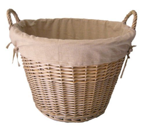 Wicker-finish (Wicker Laundry Washing / Log / Toy Storage Basket Lined Antique Wash Finish by Thyme & Season)