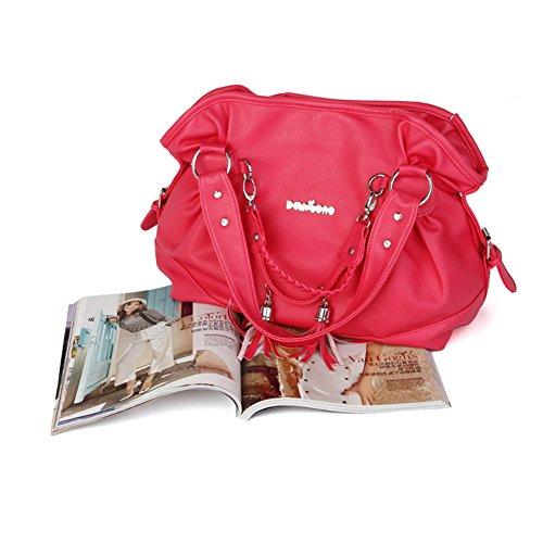 xiaoxuan Parure da donna in pelle PU borsa a tracolla portatile Rosso/rosa