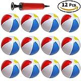 12er Set aufblasbarer Wasserball, Badeball & Schwimmball – 25cm Großer Durchmesser mit Luft-Pumpe – Strandball, Bunt & in Regenbogen-Farben - phthalatfrei & Spielzeug-Ball für Kinder am Strand