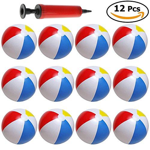 Palle da spiaggia colorate acqua gonfiabili da 30 cm - confezione da 12 pezzi - include pompa a mano - ideali per giocare con i bambini in mare spiaggia o in piscina