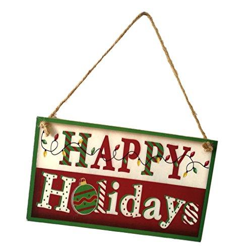 Baoblaze Weihnachtenthemen Holzschild Hängende Dekoration Plakette für Wand Tür Fenster Stuhl und Garten und Auch als Weihnachtengeschenk und Photo Booth Props - Happy Holiday