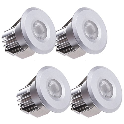 Sensati Kleine Miniatur LED Einbauleuchte Downlight Spot Set zu 4 Stück, dimmbar, 600 lm, inklusive Treiber, Gehäusefarbe silber, kaltweiß T102 4 CW S -