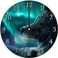 Northern Light Winter Wolf Modern Animal Glass Large Kitchen Bedroom Wall Clock