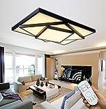 Style home 48W LED Deckenleuchte für Wohnzimmer Schlafzimmer Kinderzimmer Küche voll dimmbar mit Fernbedienung Schwarz Rechteckig 6906C-48W