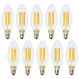 E14 Lampadine Filamento Vintage 6W Lampadina Edison Retro C35 Bianco Caldo 2700K Lampadine Retro LED 500LM Sostituzione 60W Alogena AC220V 10 Pezzi