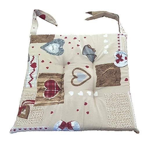 Set 6 cuscini shabby chic cuoricino rosso,trapuntati al centro 40x40 spessore 5 cm, copri sedia cucina, euronovità made in italy