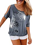 Yidarton Sommer Frauen Bluse weg von der Schulter Short Sleeve Feder Druck Muster Jumper Tops Pullover T-Shirt, dunkelgrau, S