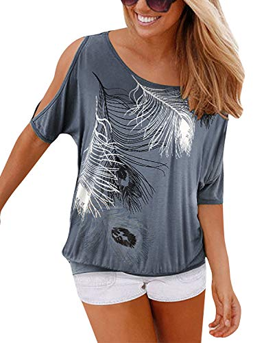Yidarton Sommer Frauen Bluse weg von der Schulter Short Sleeve Feder Druck Muster Jumper Tops Pullover T-Shirt,grau,L